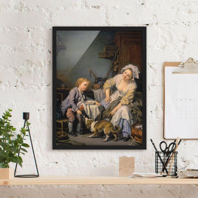 Bild mit Rahmen - Jean Baptiste Greuze - Das verwöhnte Kind - Hochformat 3:4