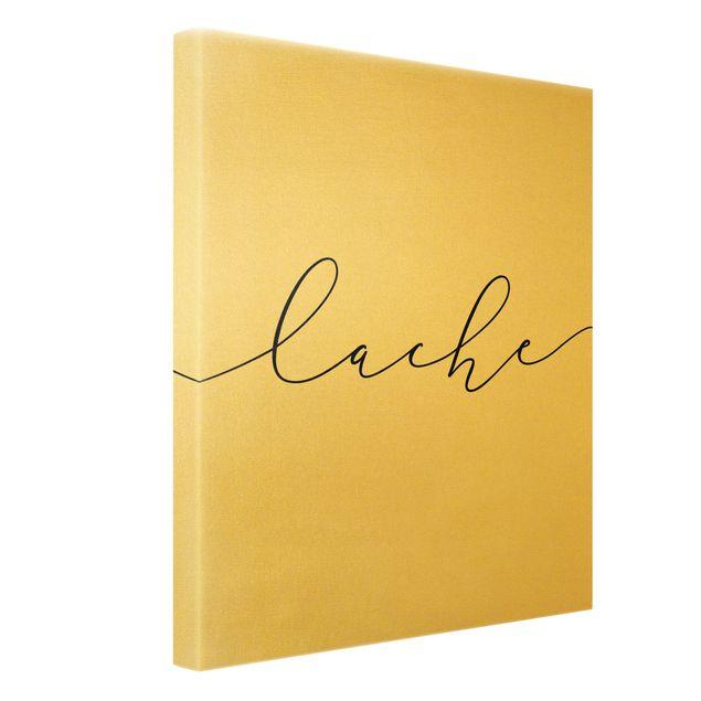 Leinwandbild Gold - Lache Kalligraphie - Hochformat 3:4