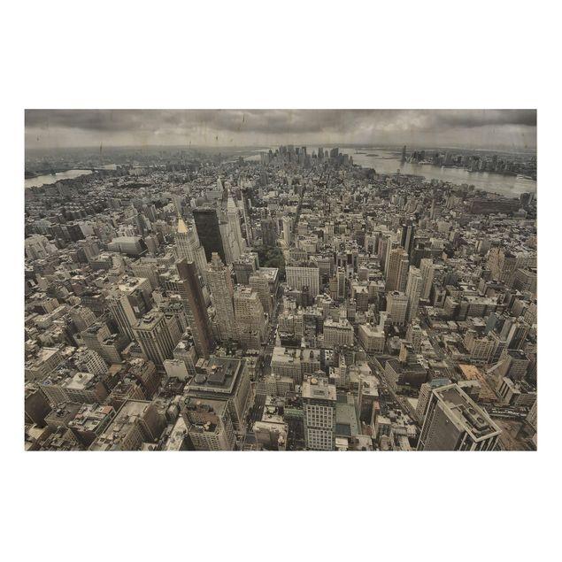 Holzbild - Blick über Manhattan - Querformat 2:3
