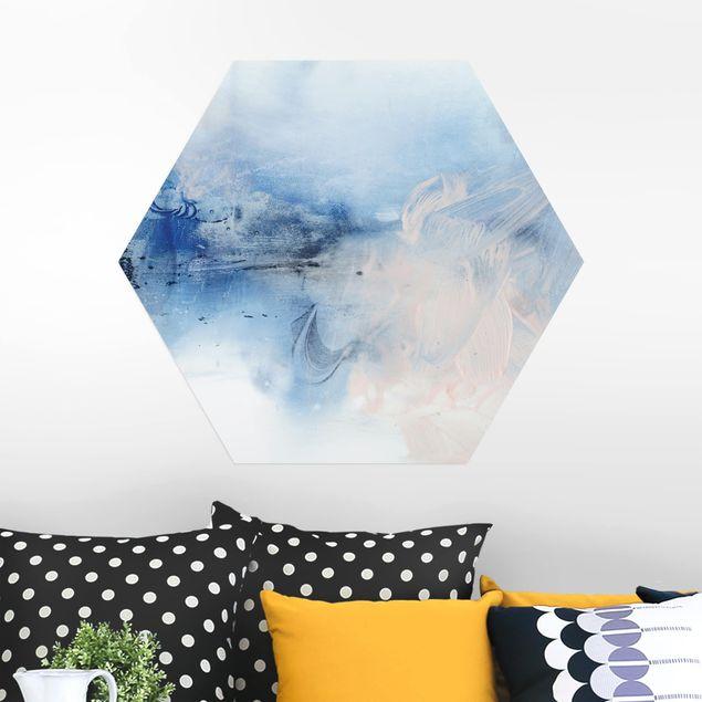 Hexagon Bild Alu-Dibond - Indigo & Rouge I