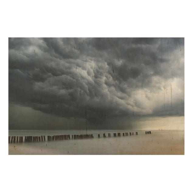 Holzbild - Sturmwolken über der Ostsee - Querformat 2:3