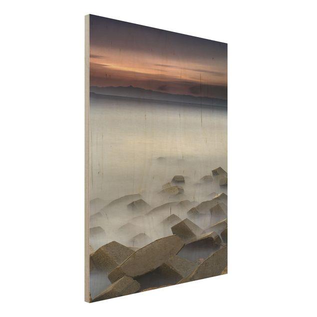 Holzbild - Sonnenuntergang im Nebel - Hochformat 4:3