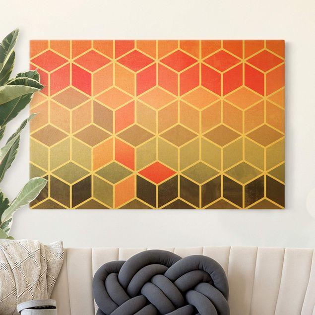 Leinwandbild Gold - Goldene Geometrie - Buntes Pastell - Querformat 3:2