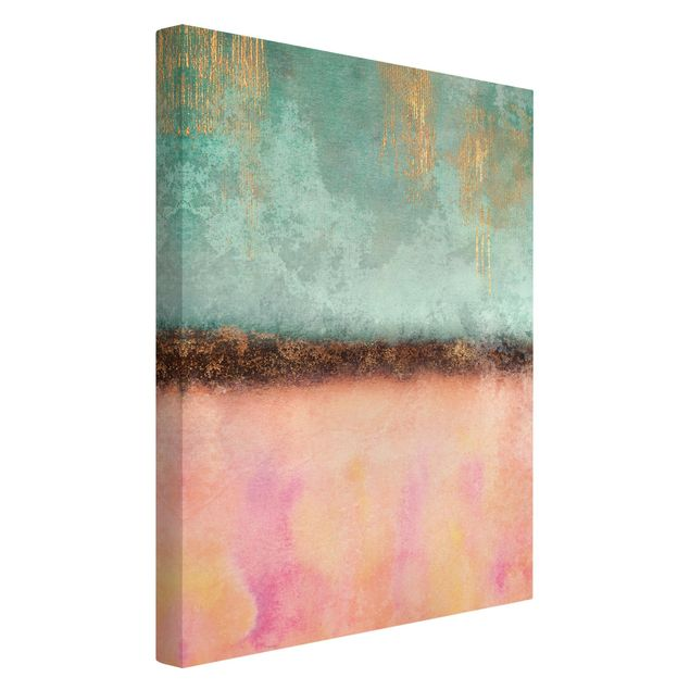 Leinwandbild - Elisabeth Fredriksson - Pastell Sommer mit Gold - Hochformat 2:3
