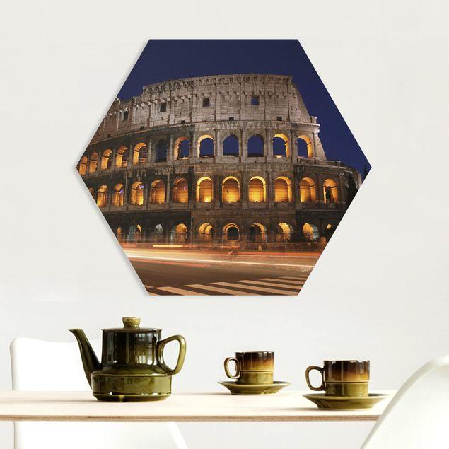 Hexagon Bild Forex - Colosseum in Rom bei Nacht