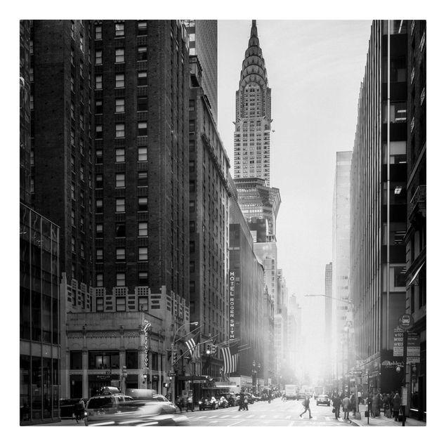Leinwandbild - Lebhaftes New York - Quadrat 1:1