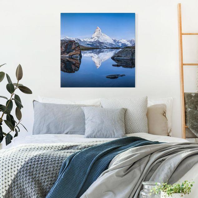 Leinwandbild - Stellisee vor dem Matterhorn - Quadrat 1:1