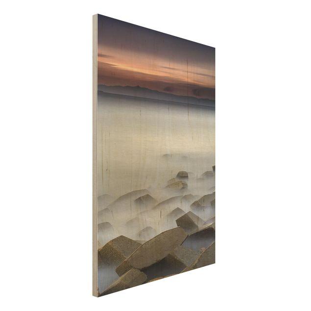 Holzbild - Sonnenuntergang im Nebel - Hochformat 3:2