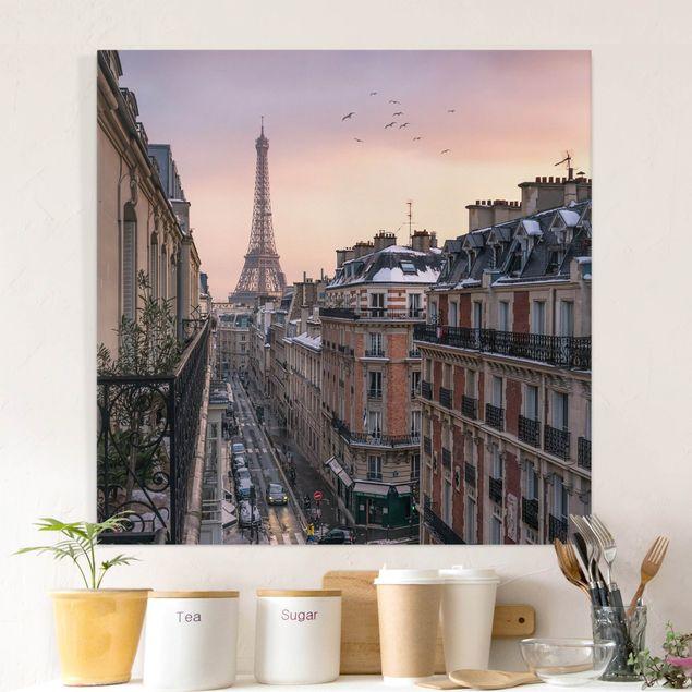 Leinwandbild - Eiffelturm bei Sonnenuntergang - Quadrat 1:1
