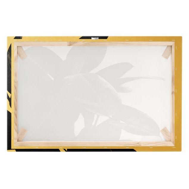 Leinwandbild Gold - Gummibaum Blätter Schwarz Weiß - Querformat 3:2
