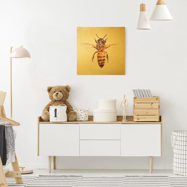 Leinwandbild Gold - Biene mit Glitzer - Quadrat 1:1