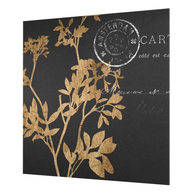 Glas Spritzschutz - Goldene Blätter auf Mokka I - Quadrat - 1:1