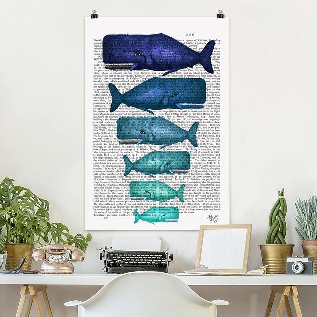 Poster - Tierlektüre - Walfamilie - Hochformat 3:2