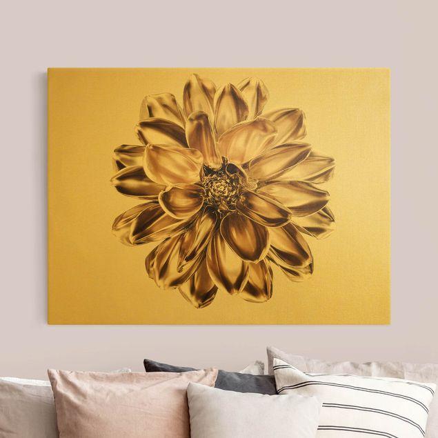 Leinwandbild Gold - Dahlie Blume Gold Metallic - Querformat 4:3