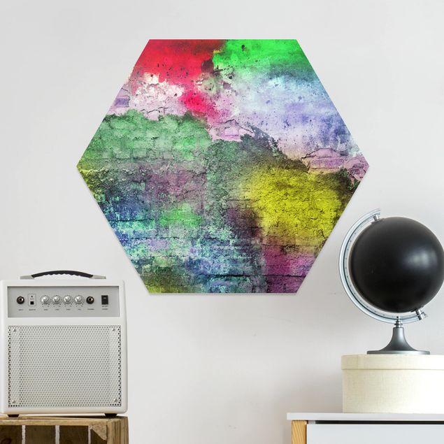 Hexagon Bild Forex - Bunte besprühte alte Wand aus Backstein