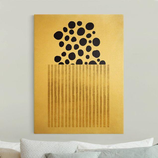 Leinwandbild Gold - Geometrische Punkte II - Hochformat 3:4