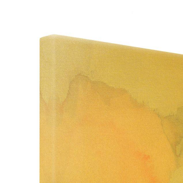 Leinwandbild Gold - Aquarell Goldene Spitze I - Hochformat 3:4