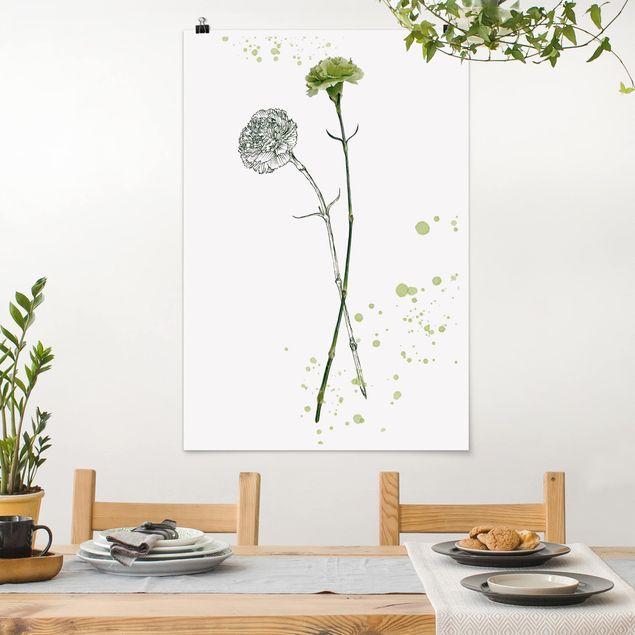 Poster - Botanisches Aquarell - Nelke - Hochformat 3:2