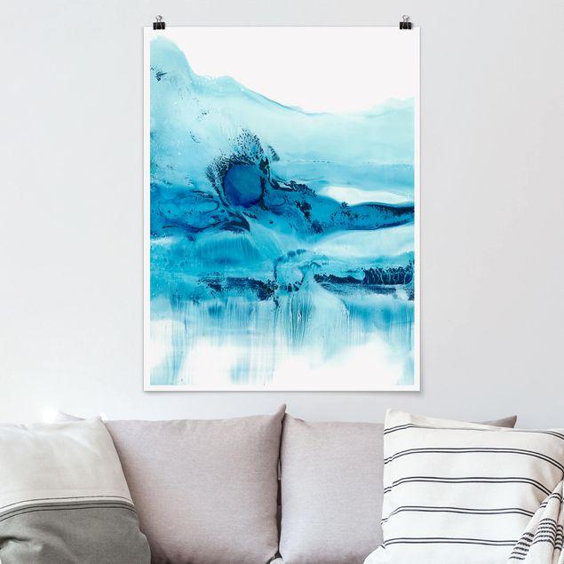 Poster - Blaue Strömung II - Hochformat 3:4