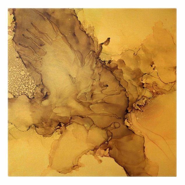 Leinwandbild Gold - Goldbraune Explosion II - Quadrat 1:1