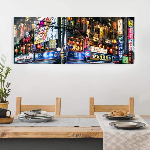 Glasbild - Neonreklame - Panorama
