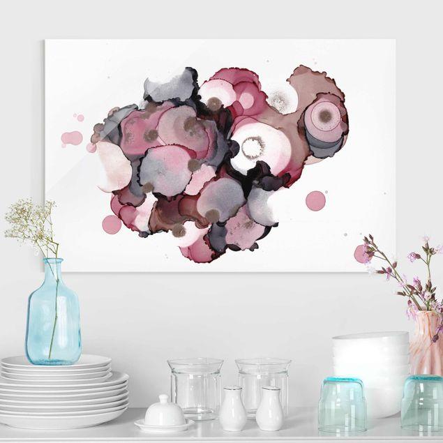 Glasbild - Pink-Beige Tropfen mit Roségold - Querformat 3:2