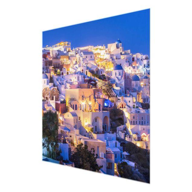 Glasbild - Santorini at night - Quadrat 1:1