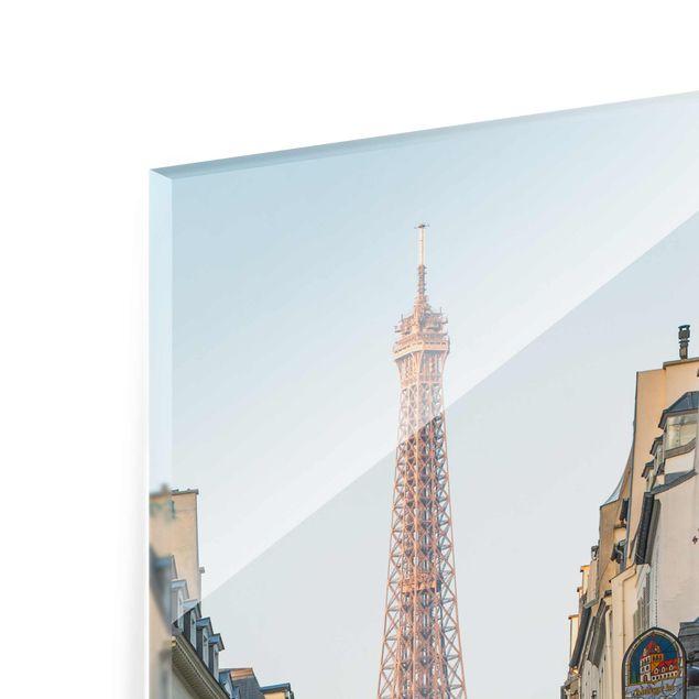 Glasbild - Straße von Paris - Hochformat 3:4