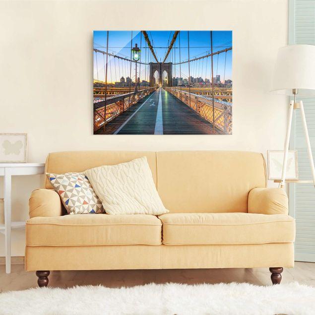 Glasbild - Morgenblick von der Brooklyn Bridge - Querformat 4:3