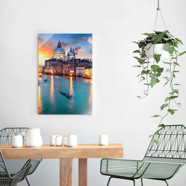 Glasbild - Sunset in Venice - Hochformat 2:3