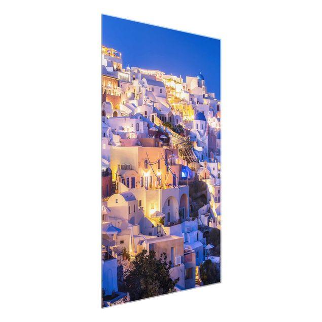 Glasbild - Santorini at night - Hochformat 2:3