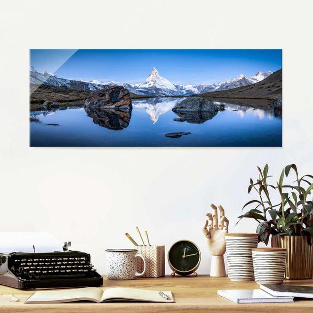 Glasbild - Stellisee vor dem Matterhorn - Panorama