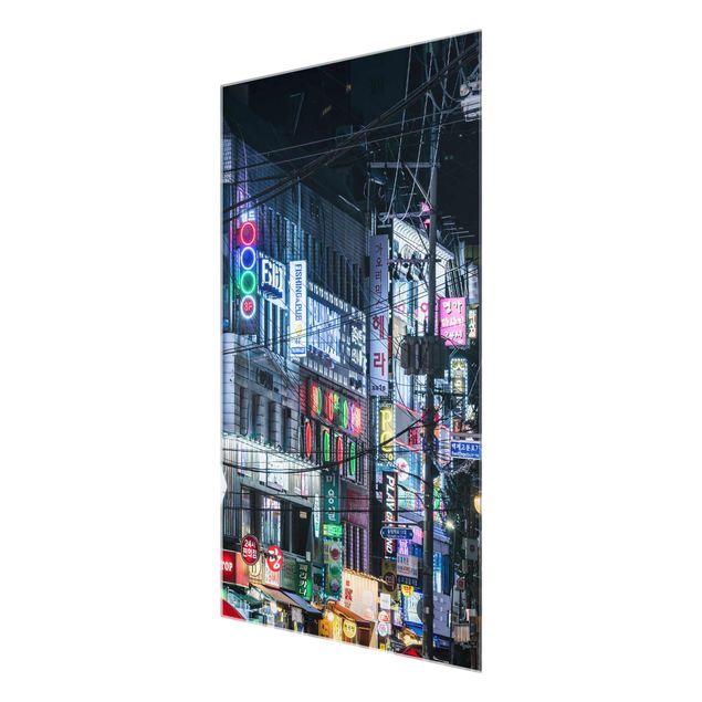 Glasbild - Nachtleben von Seoul - Hochformat 2:3
