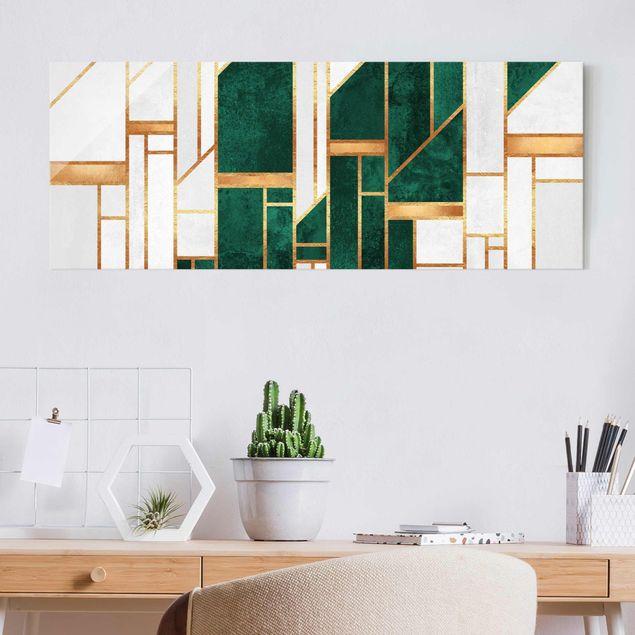 Glasbild - Elisabeth Fredriksson - Emerald und Gold Geometrie - Panorama