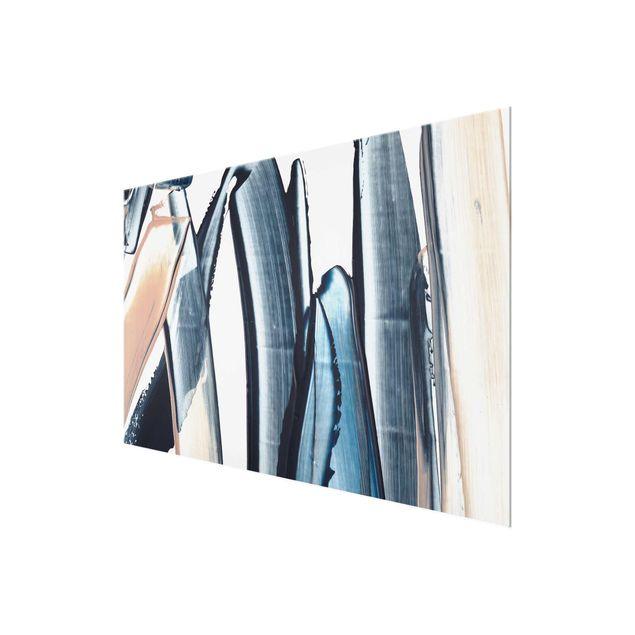 Glasbild - Blau und Beige Streifen - Querformat 3:2