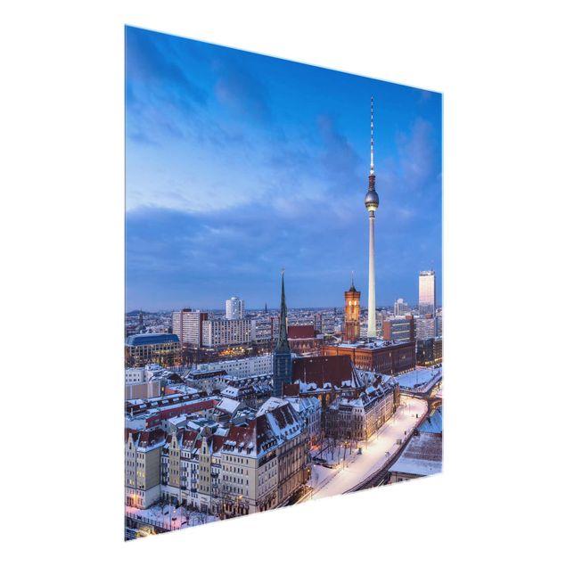Glasbild - Schnee in Berlin - Quadrat 1:1