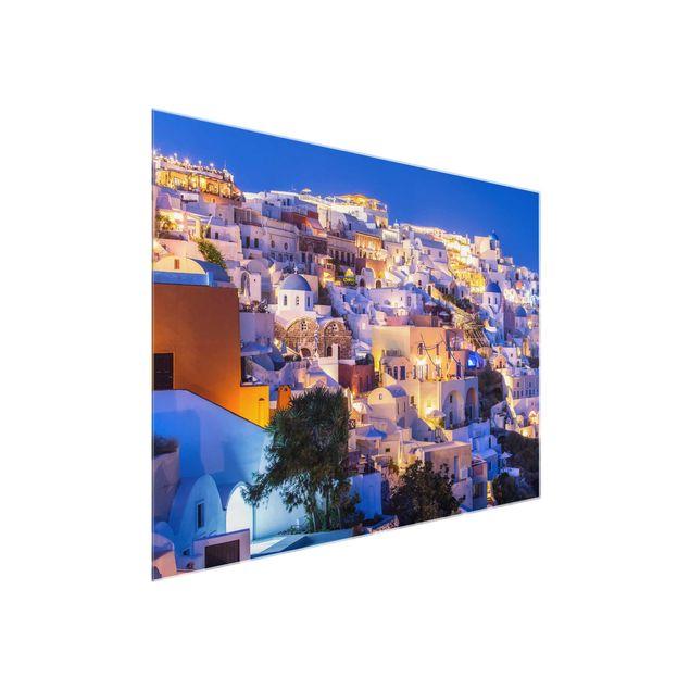 Glasbild - Santorini at night - Querformat 4:3