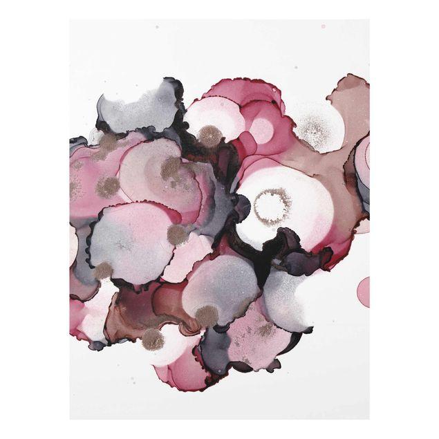 Glasbild - Pink-Beige Tropfen mit Roségold - Hochformat 3:4