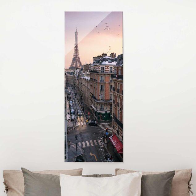 Glasbild - Eiffelturm bei Sonnenuntergang - Panel