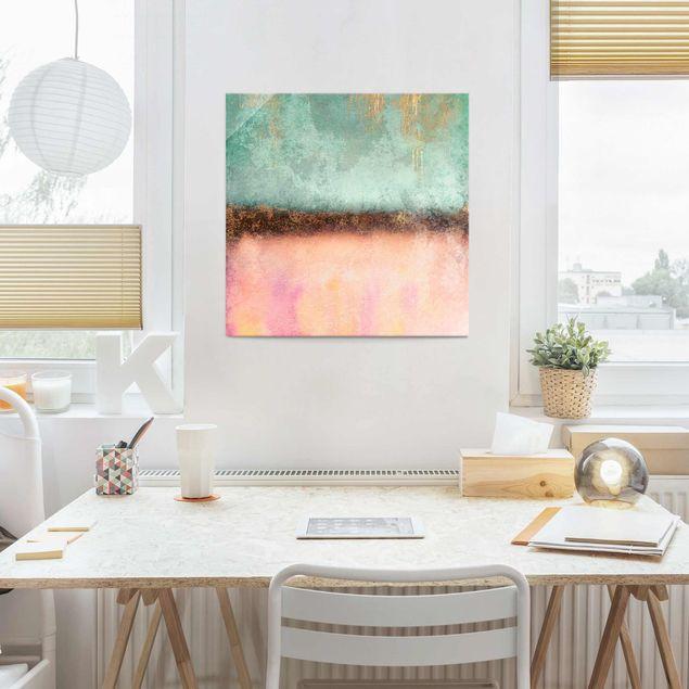 Glasbild - Elisabeth Fredriksson - Pastell Sommer mit Gold - Quadrat 1:1