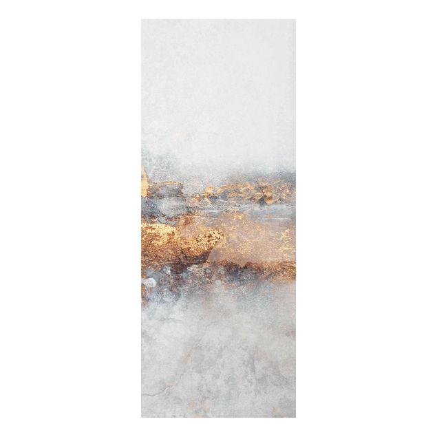 Glasbild - Elisabeth Fredriksson - Gold-Grauer Nebel - Panel