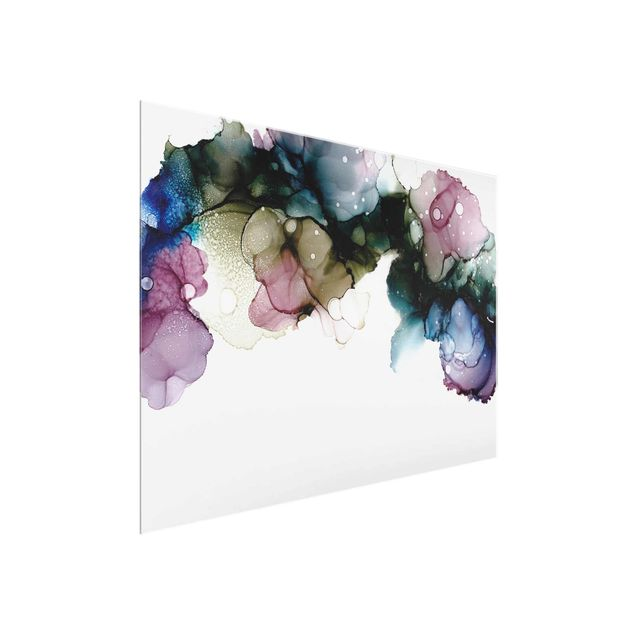 Glasbild - Blumenbogen mit Gold - Querformat 4:3
