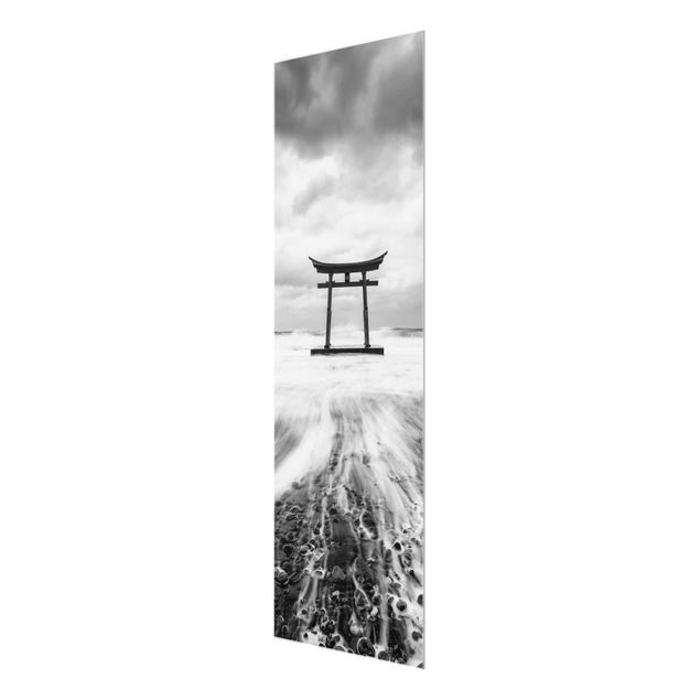 Glasbild - Japanisches Torii im Meer - Panel
