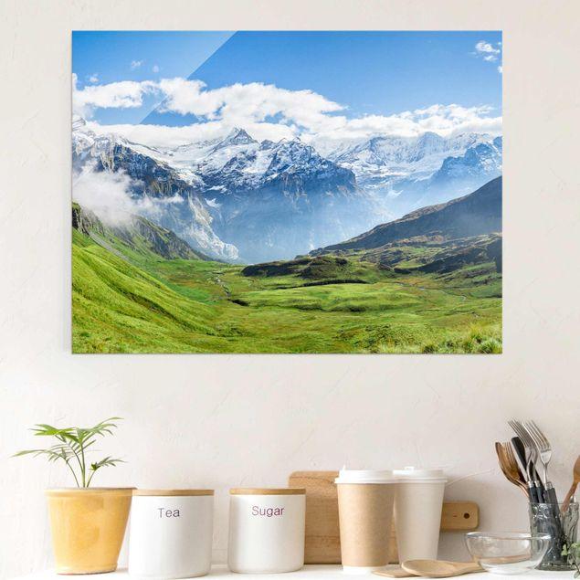 Glasbild - Schweizer Alpenpanorama - Querformat 4:3