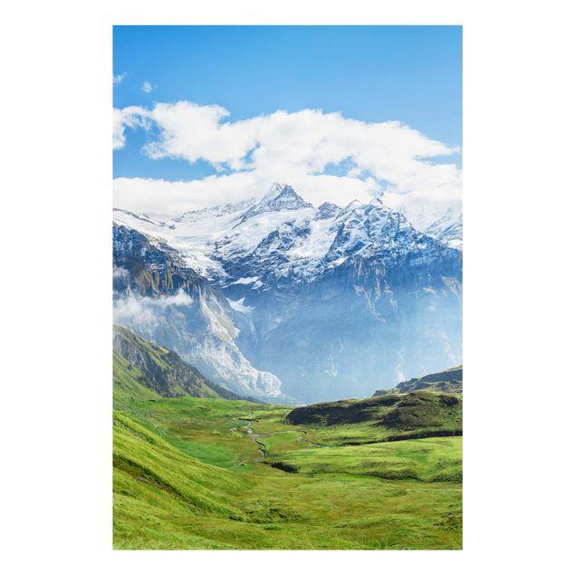 Glasbild - Schweizer Alpenpanorama - Hochformat 2:3