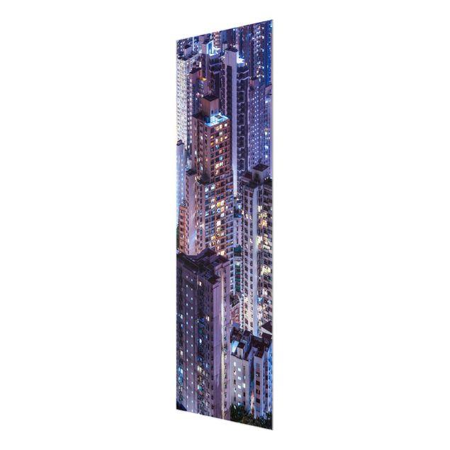 Glasbild - Hongkong Lichtermeer - Panel