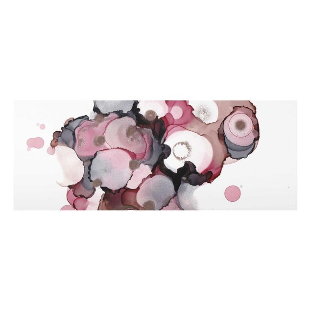 Glasbild - Pink-Beige Tropfen mit Roségold - Panorama