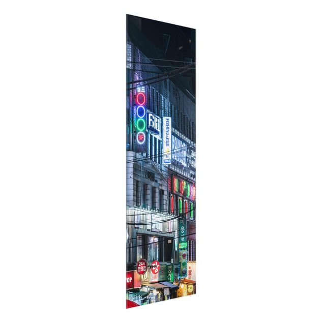Glasbild - Nachtleben von Seoul - Panel