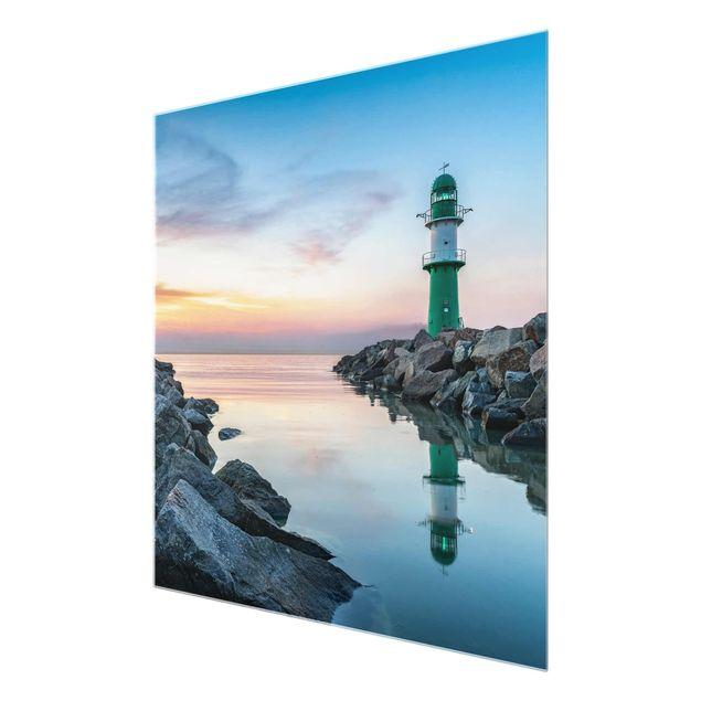 Glasbild - Sunset at the Lighthouse - Quadrat 1:1