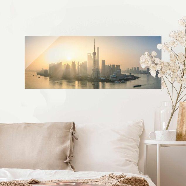 Glasbild - Pudong bei Sonnenaufgang - Panorama